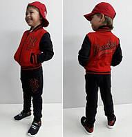 Стильный костюмчик  на деток  Янки красный  98 см