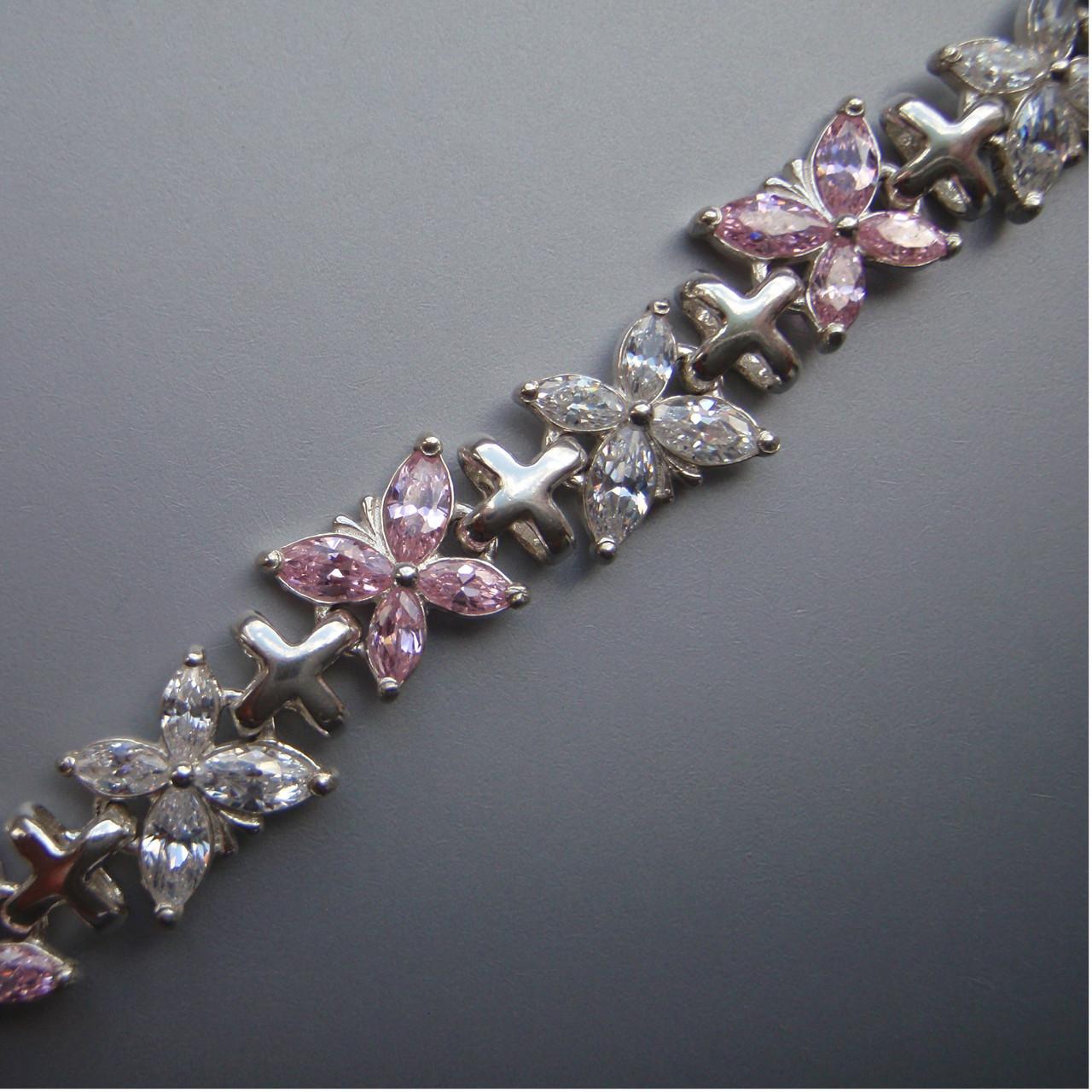 Cеребряный женский браслет с фианитами, 170мм