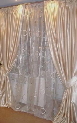Шторы портьерные Шанзелизе Молочные (2 шторы), фото 2
