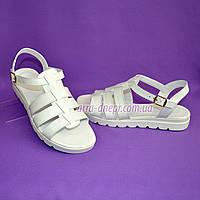 Босоножки кожаные на утолщенной белой подошве. Хит продаж., фото 1