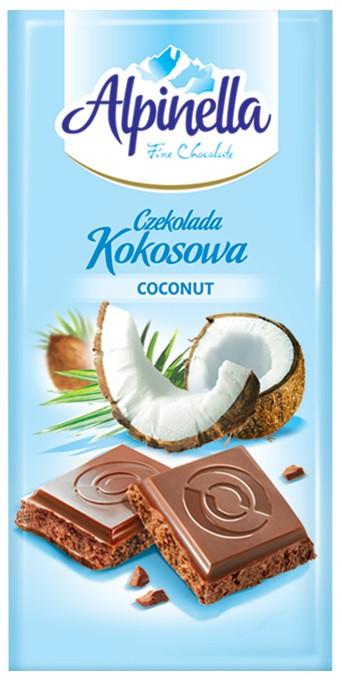 """Шоколад """"Alpinella kokosawa""""  (Альпинелла молочный с кокосом), Польша, 100г"""