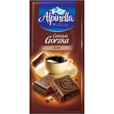 """Шоколад """"Alpinella Czekolada Gorzka Dark""""(Альпинелла черный горький), Польша, 90г"""