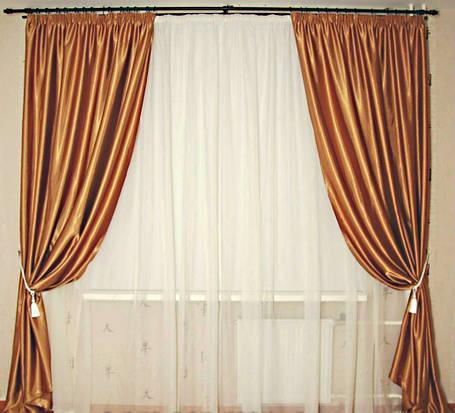 Шторы портьерные Шанзелизе Св.Коричневый (2 шторы), фото 2
