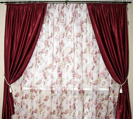 Шторы портьерные Шанзелизе Бордо(2 шторы), фото 2