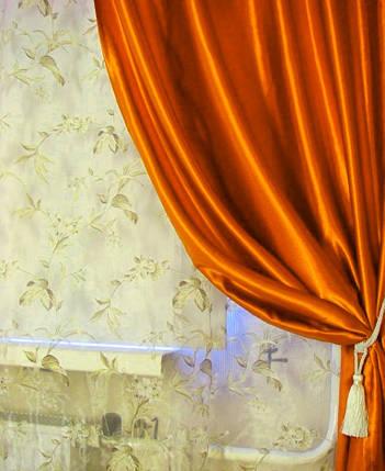 Шторы портьерные Шанзелизе Оранжевый (2 шторы), фото 2