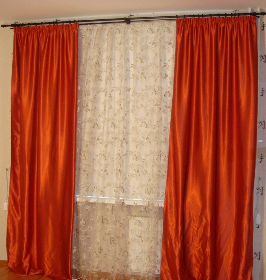 Шторы портьерные Шанзелизе Красные(2 шторы)