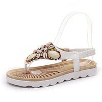 Красивые женские сандалии -шлепанцы бисер-камни 2 цвета, фото 1