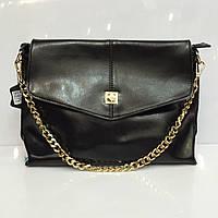 Женская сумка клатч - конверт 1222 кожаный в черном цвете