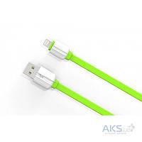 Кабель USB LDNio Lightning flat 2.1A Green (LS05)