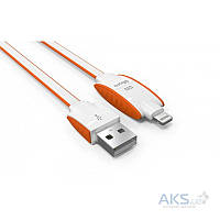 USB кабель LDNio Micro USB+Lightning 2 in 1 flat 2.1A Orange (LC83)