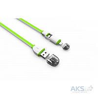 USB кабель LDNio Micro USB+Lightning 2 in 1 flat 2.1A Green (LC82)
