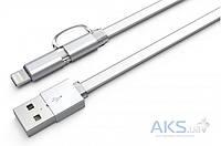 USB кабель LDNio Micro USB+Lightning 2 in 1 flat 2.1A White (LC84)