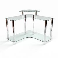 Стеклянный компьютерный угловой стол Вега 90х90х75/85 (Бц-стол ТМ)