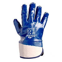 Перчатки трикотаж масло/бензо стойкая, манжет, синий Р10 (120)