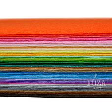 Фетр 100% полиэстер, плотный, 1 мм, 20х30 см, набор 40 цветов, фото 3