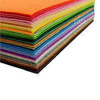 Фетр 100% полиэстер, плотный, 1 мм, 20х30 см, набор 42 цвета