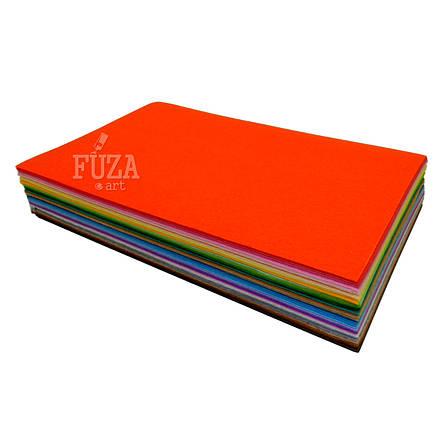 Фетр 100% полиэстер, плотный, 1 мм, 20х30 см, набор 40 цветов, фото 2