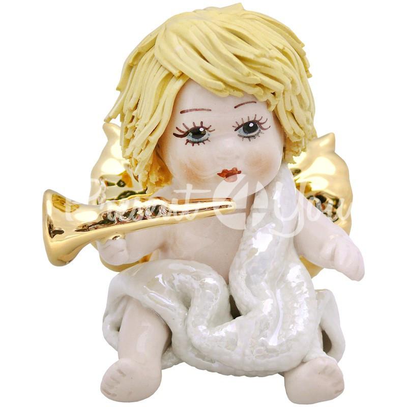 Фигурка колекционная с фарфора, ручная робота ,Италия «Ангелочек с трубой» h-6,5 см. Zampiva