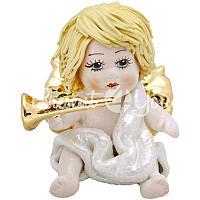 Фигурка «Ангелочек с трубой» h-6,5 см. Zampiva