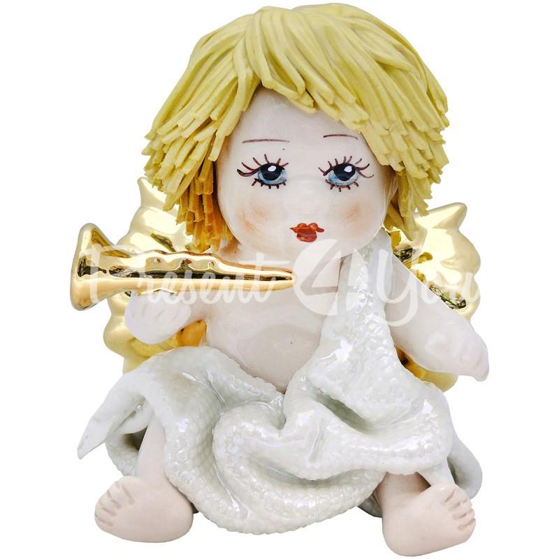 Фигурка колекционная с фарфора, ручная робота ,Италия «Ангелочек с трубой» h-9 см. Zampiva