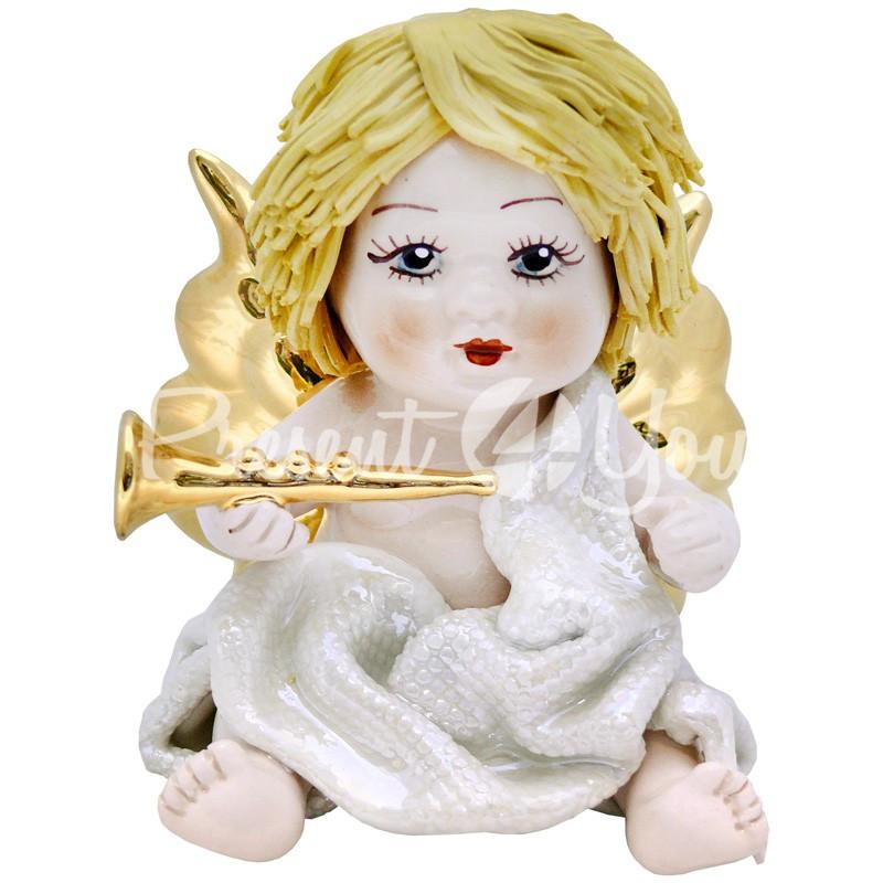 Фигурка колекционная с фарфора, ручная робота ,Италия «Ангелочек с трубой» h-9,5 см. Zampiva