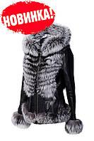 Новинка! Куртка кожаная с мехом чернобурки!