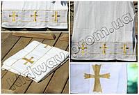 Полотенце белое крестильное (крыжма) золото