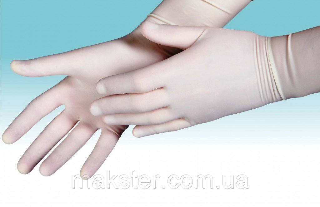 Перчатки латексные хирургические стерильные, опудренные