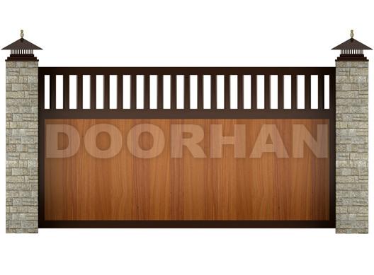 Doorhan откатные ворота комбинированные алюминиевые профиля
