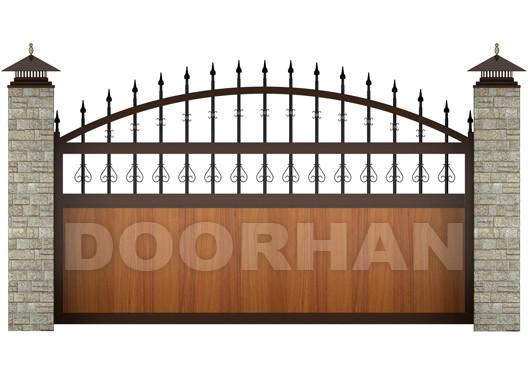 Откатные ворота Doorhan с пиками и вензелями