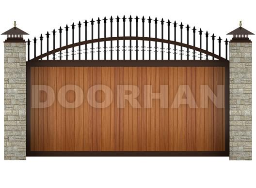 Дорхан откатные ворота с пиками и вензелями