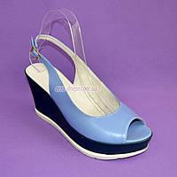 """Босоножки женские голубые кожаные на устойчивой синей платформе от производителя ТМ """"Maestro"""", фото 1"""