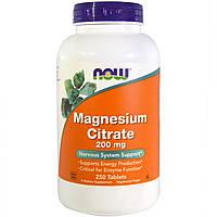 Магния Цитрат, Now Foods, Magnesium Citrate, 200 мг, 250 таблеток