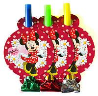 Набор гудков язычков Минни Маус 6 шт. на День рождения в стиле Минни Маус