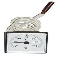 Термометр квадратный 45х45мм 0-120° белый LT151 с капиляром 1м