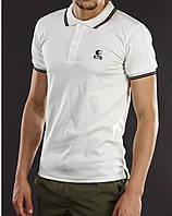 Мужская футболка polo YSTB с воротником белая (мужские футболки, молодежные, стильные, поло)