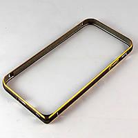 Бампер для iPhone 4/4S, ультратонкий на защелке, алюминиевый, Fashion case, Черный с золотистым /чехол/кейс/case/защита /айфон