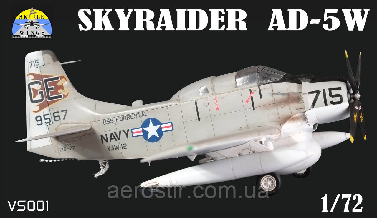 Самолет  Skyraider AD-5W      1\72   Skale Wings VS001