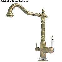 Двухканальный кухонный смеситель Fabiano FKM 31.4 античная бронза
