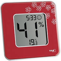 """Термогигрометр цифровой TFA """"Style"""", 104x104x13 мм, красный (30502105)"""