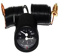 Термоманометр круглый Cewal TI 52 P 0-120° 4 бар, черный с капилярами 1,5м
