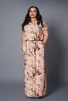 Нежное женское платье с цветочным принтом розового цвета
