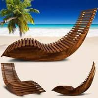 Деревянный шезлонг-качалка