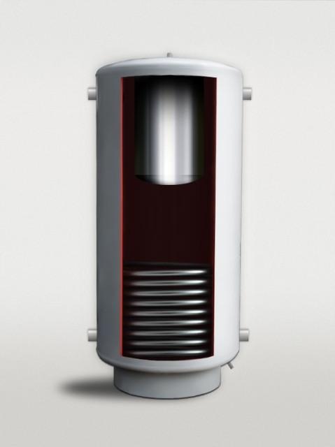 Теплоаккумулятор ТАВ-01 с бойлером и нижним теплообмеником ( с нержавеющей стали)