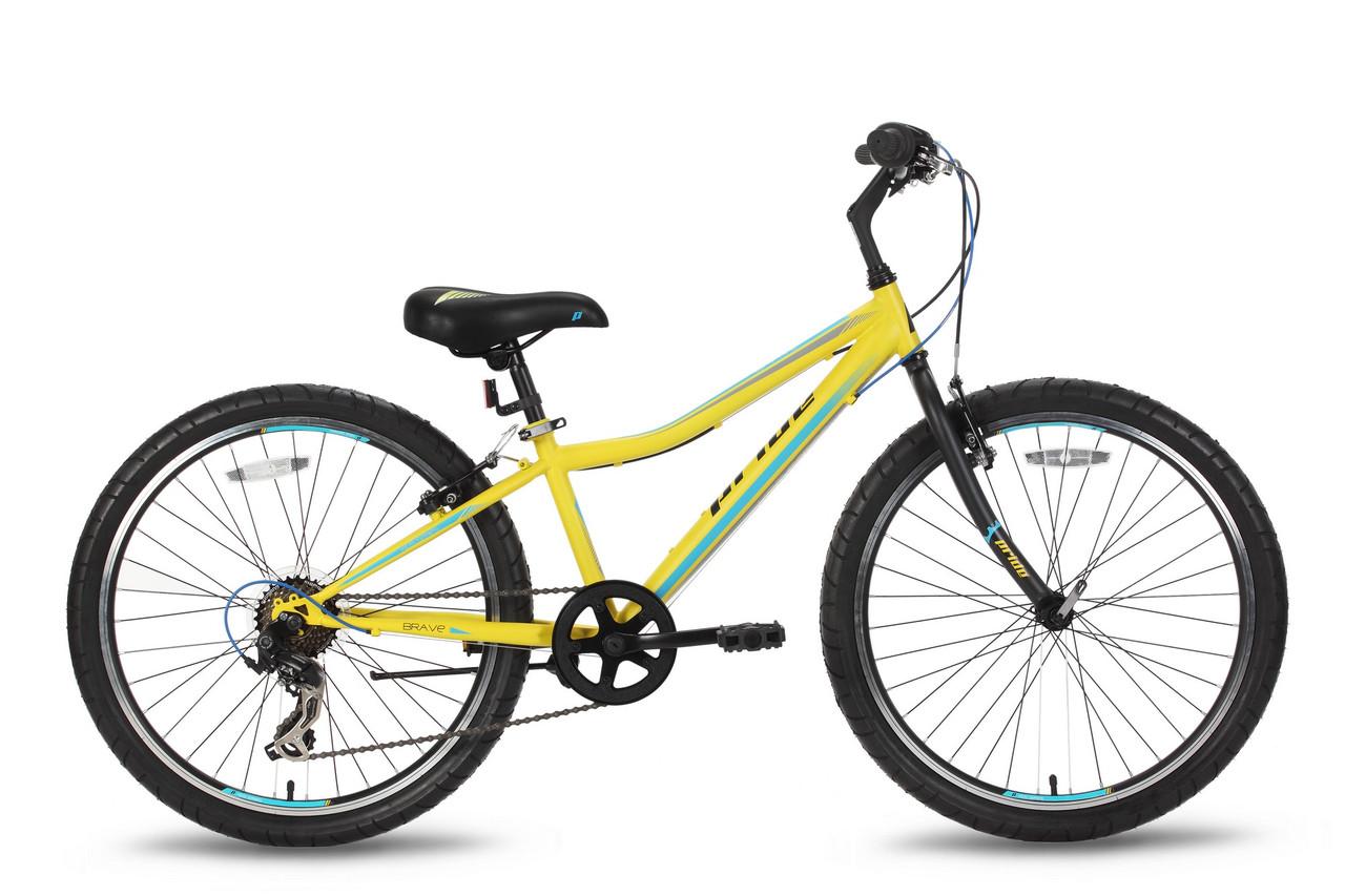 """Детский велосипед PRIDE BRAVE 7 желто-синий матовый, 24"""" (BB)"""