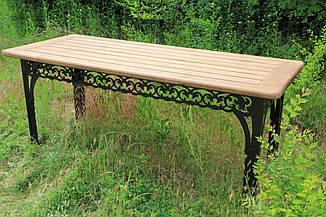 Стол садовый декоративный, из дуба, 200см, цвет черный/коричневый, фото 2
