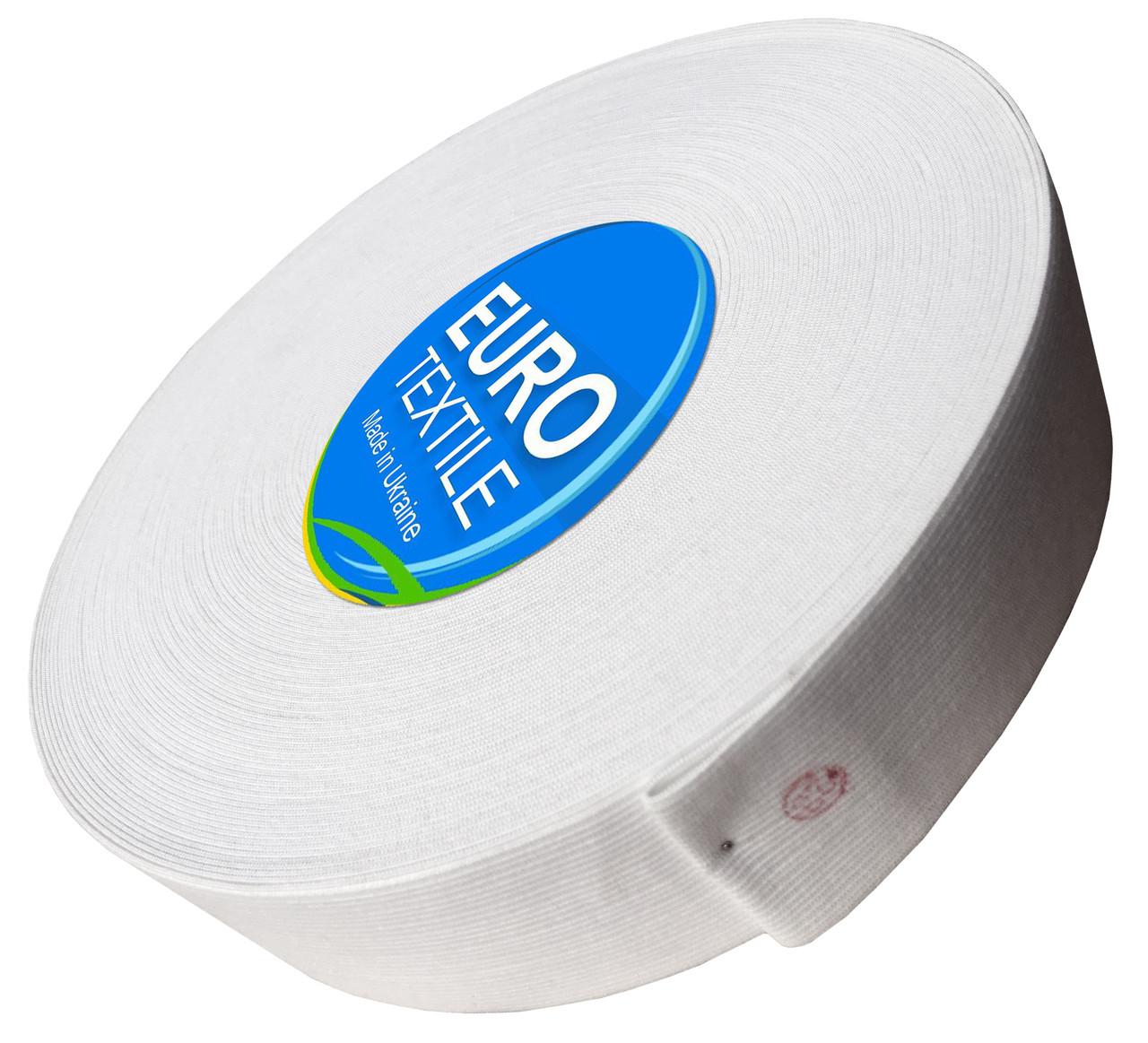 Резинки для одежды (50mm/40m) белый, тесьма эластичная полиэстер