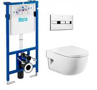 Комплект Rocа: підвісний унітаз MERIDIAN-N, інсталяція PRO, кнопка PRO, сидіння A34H249000+890096001+89009000K