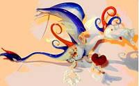 Стеклянная фигурка Дракон из сердцем а-550-1