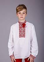 Вышитая рубашка крестиком на белом лене